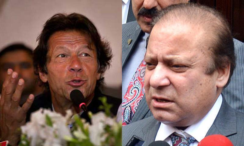 Imran Khan and Nawaz Sharif.— File photo