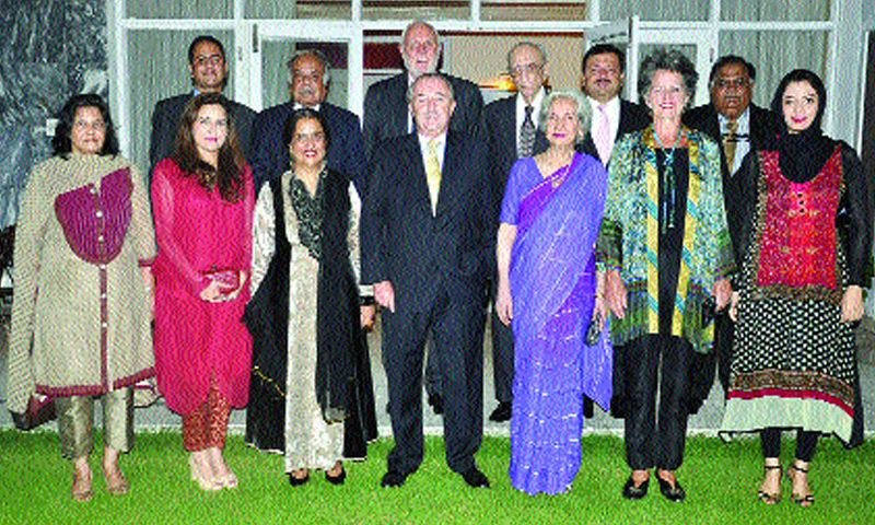 Argentinian ambassador Rodolfo Martin Saravia, Naela Chohan, Pakistan's high commissioner designate to Australia and other guests at the reception.