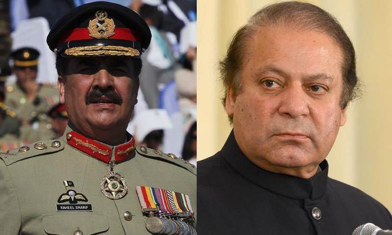 Army chief Raheel Sharif and Prime Minister Nawaz Sharif.