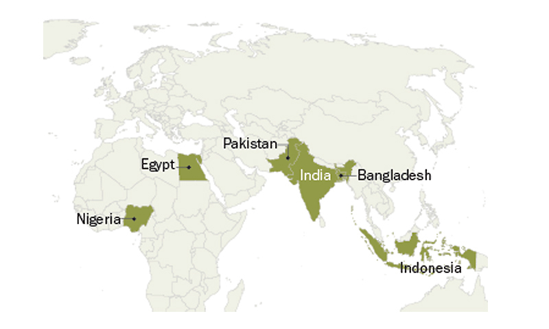 Did you know six countries home to 53 of all muslims world map of countries that are home to more than 50 of the muslim population gumiabroncs Choice Image
