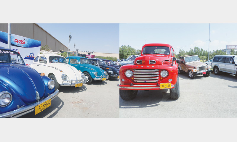 VEHICLES with varying features on display at the Expo Centre on Sunday.—Photos by writer
