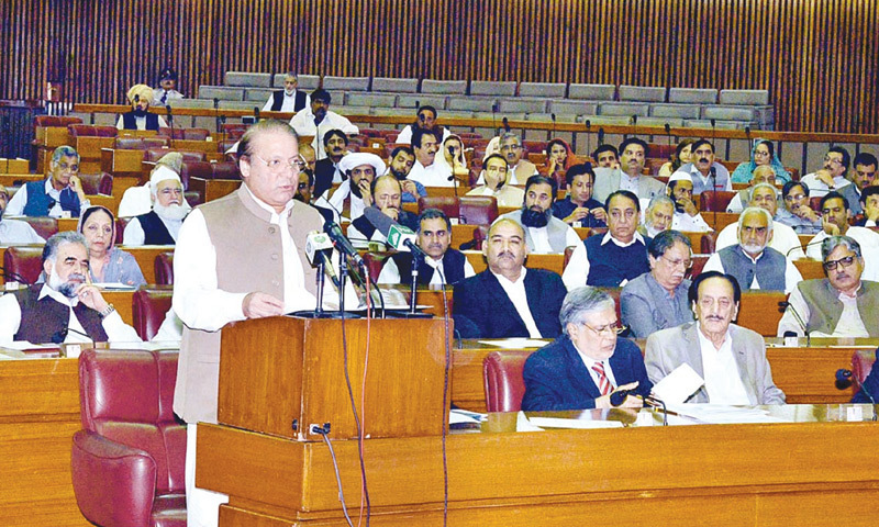 PRIME Minister Nawaz Sharif addresses the joint session of both houses of parliament on Friday.—APP