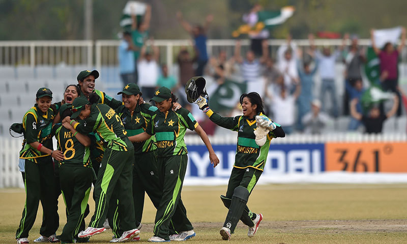 Pakistan's women cricket team celebrate their victory during the women's cricket final against Bangladesh at the Yeonhui Cricket Ground during the 17th Asian Games in Incheon on September 26, 2014.— Photo by AFP