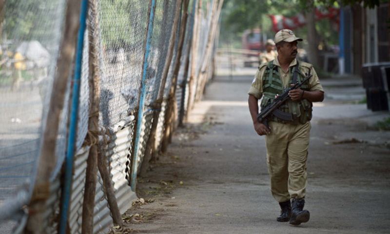 This picture shows an Indian Central Industrial Security Force (CISF) personnel standing guard in the outskirts of New Delhi. — File photo/AFP