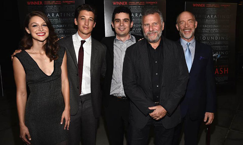 "(L-R) Actress Melissa Benoist, actor Miles Teller, writer/director Damien Chazelle, actor Paul Reiser and actor J.K. Simmons at the premiere of ""Whiplash"" on October 6, 2014 in Los Angeles. – Photo by AFP"