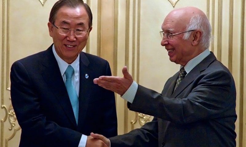 Ban Ki-moon and Sartaj Aziz. - File photo
