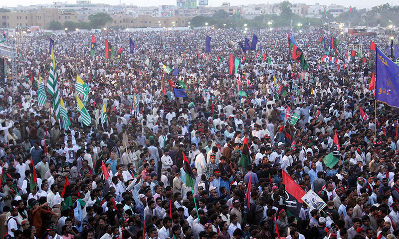 Large crowd gathered in Karachi's Bagh-i-Jinnah to attend PPP rally.—PPI photo