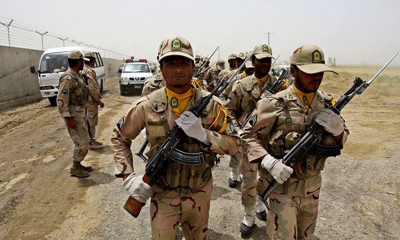 Pakistan, which shares a 900-kilometer border with Iran, has accused Iranian border guards (pictured here) of repeatedly making violent incursions into its territory. — Photo by AP