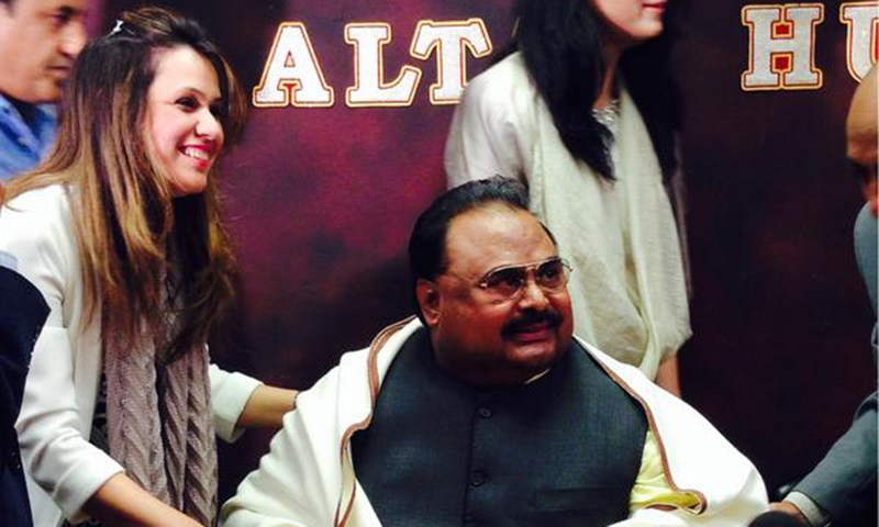 Irum Azeem Farooque with MQM chief Altaf Hussain. — Photo courtesy: Irum Farooque Twitter/@Irumf
