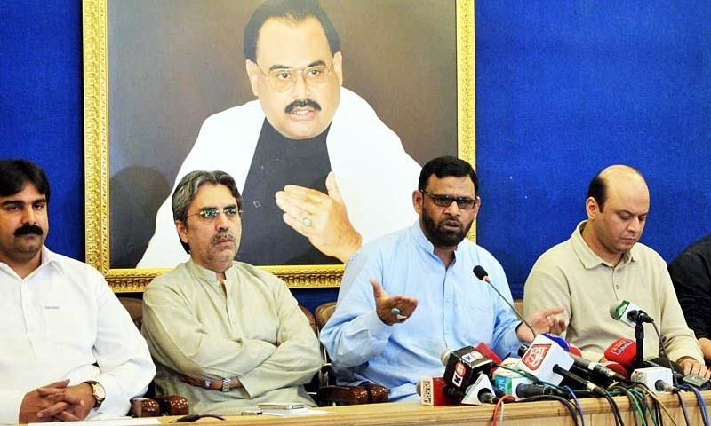 MQM leader Abdul Haseeb Khan speaks at a press conference in Karachi on Saturday. – Photo by Online