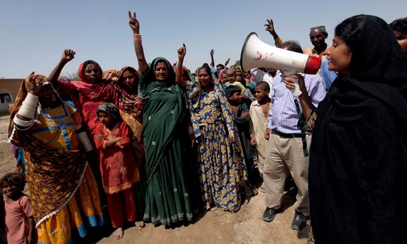 """Chanting slogans during the election campaign. When Kohli launched her shot at office, she said: """"We will continue our struggle until the last bonded labourer is freed."""" — Reuters photo"""