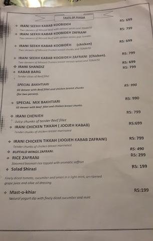 The menu at Nobahar Chai Khana. — Photo by author.