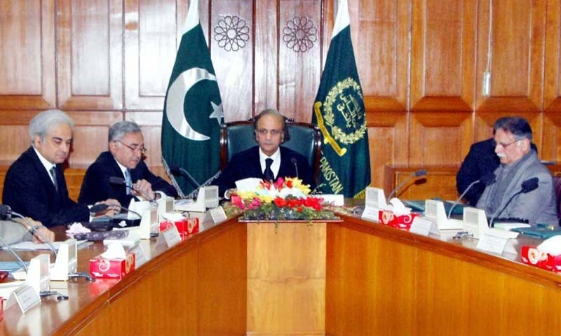 ISLAMABAD, PAKISTAN, JAN 06: Chief Justice, Justice Tassaduq Hussain Jillani presides over  the meeting of Judicial Commission of Pakistan, at Supreme Court Building in Islamabad. — File photo