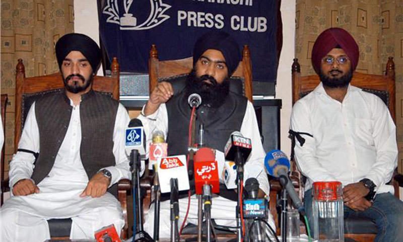 Chief patron of the Pakistan Sikh council Sardar Ramesh Singh addressing a press conference at Karachi Press Club. — Online/file
