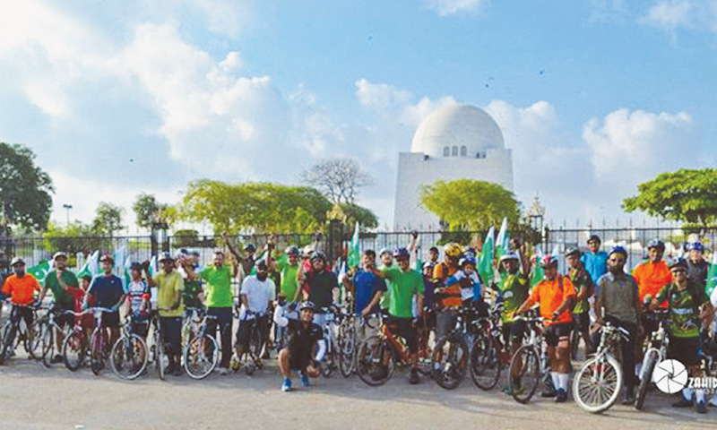 Critical  Mass Karachi celebrated their 100th ride last year in which over 140 cyclists participated, Photos courtesy: Critical Mass Karachi
