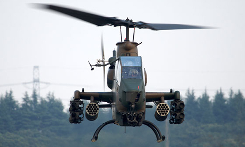 This picture shows a Pakistan army gun-ship helicopter. — INP/File