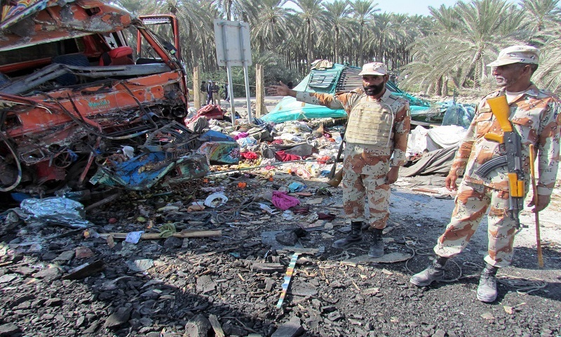 Rangers are pictured at the scene of the bus accident near Khairpur. - AFP Photo