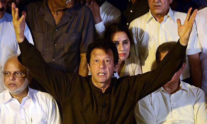 """There was confusion in various circles about exactly what Khan was responding to when he said """"Asma said that women attend the PTI sit-in to dance when she herself dances on her visits to India. I think she has become friends with the Jamiat Ulema Islam-Fazal chief.""""  - AFP/file"""