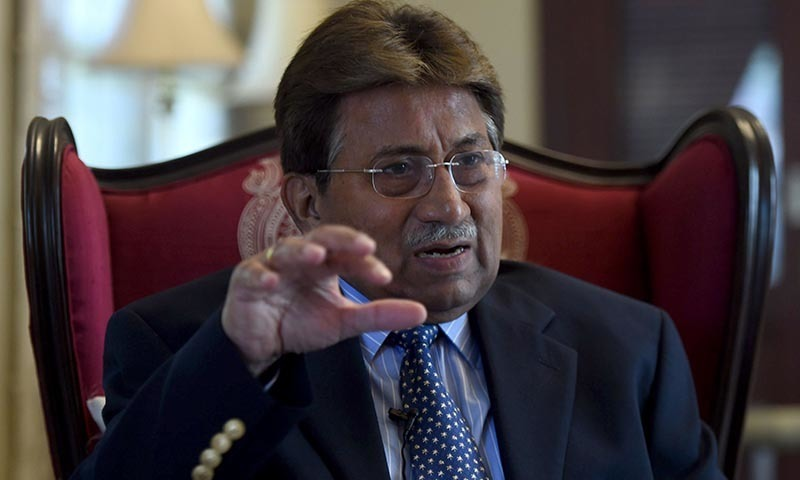 In this photograph taken November 14, 2014, Pakistan's former military ruler General (retd) Pervez Musharraf gestures during an interview with AFP in Karachi. - AFP