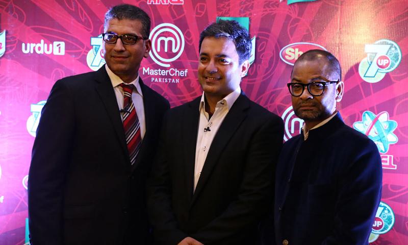 From L-R: Khurran Awan, Chef Mehboob Khan and Chef Zakir Qureshi of MasterChef Pakistan.