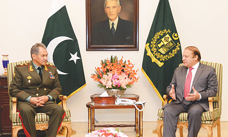 Islamabad: Prime Minister Nawaz Sharif meets Russian Defence Minister Gen Sergey Shoigu at the PM House here on Thursday.