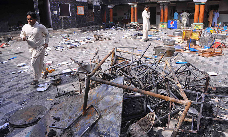 Arson attacks on Hindu Temples also took place in Larkana (pictured) and other parts of Sindh in March early this year. -Reuters/File