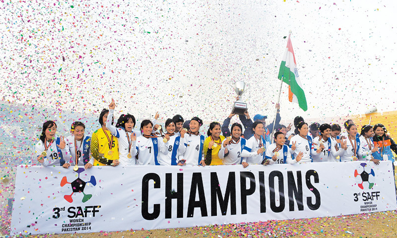Islamabad: Members of Indian women's squad celebrate their victory in the SAFF Women's Championship final at the Jinnah Stadium  on Friday.—AFP