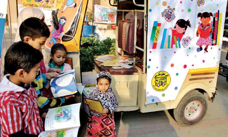 Children visit a stall during Children's Literature Festival at the Children Library Complex. — INP