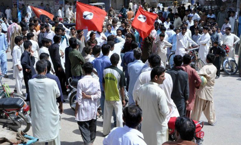 Activists of a Sindhi nationalist party held a protest demonstration against murder of their party's leader Maqsood Qureshi.—PPI/File