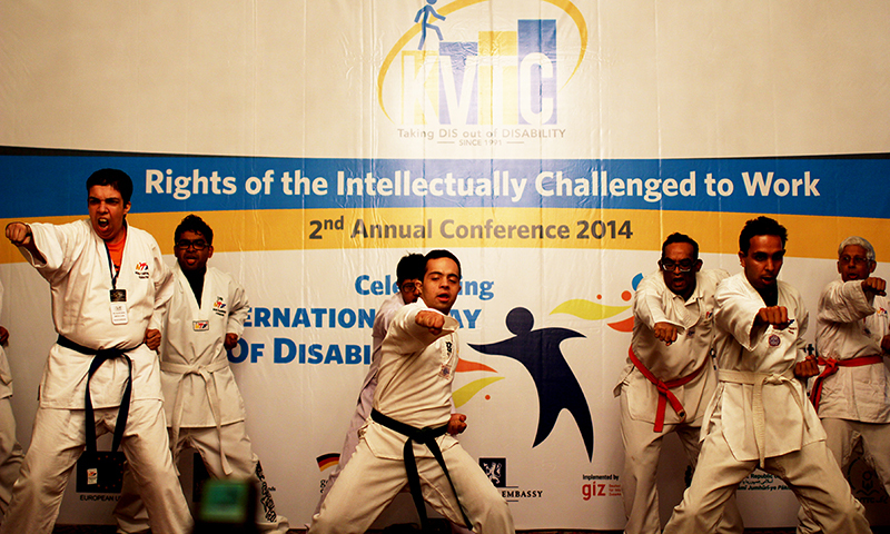 Special persons from the Karachi Vocational Training Centre perform martial arts at the conference. — Photo by Yumna Rafi