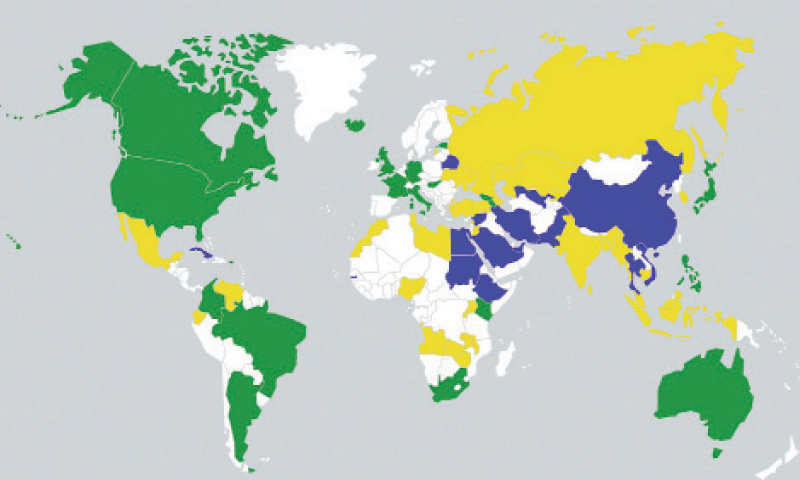 COUNTRIES marked in green are considered 'free', those marked in blue are considered 'not free', while those in yellow have been designated 'partially free' by the Freedom on the Net 2014 report.
