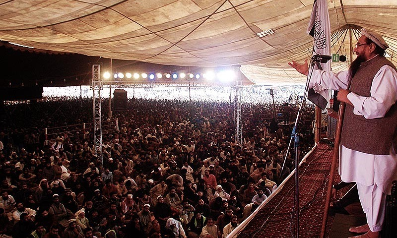 Jamaatud Dawa(JuD) emir Hafiz Muhammad Saeed addressing the participants of JuD Ijtemaa at Minar -i-Pakistan.— Online