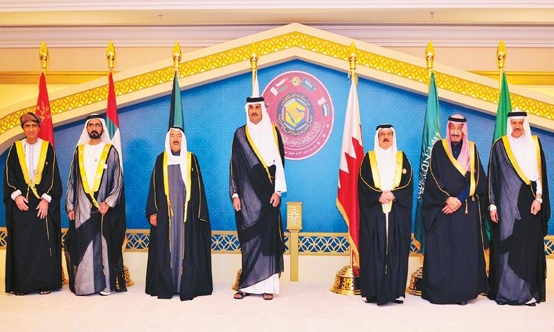 GCC leaders, including Emir of Qatar Sheikh Tamim bin Hamad Al Thani (C) pose for a photo.— AP/File