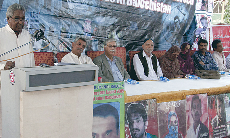 Abdul Qadeer Baloch speaks at the programme held in connection with Human Rights Day on Wednesday.—White Star