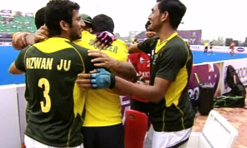 Pakistan hockey players celebrate after beating world number three Netherlands 4-2 in the Champions Trophy quarterfinals. — Screengrab