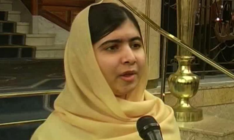Screengrab shows Malala Yousafzai speaking during an interview with DawnNews