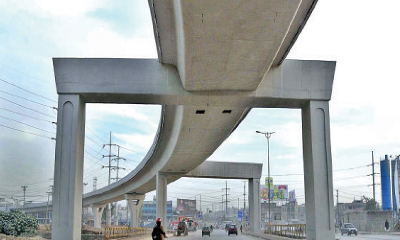 A view of an under construction section of the metro bus flyover.—APP