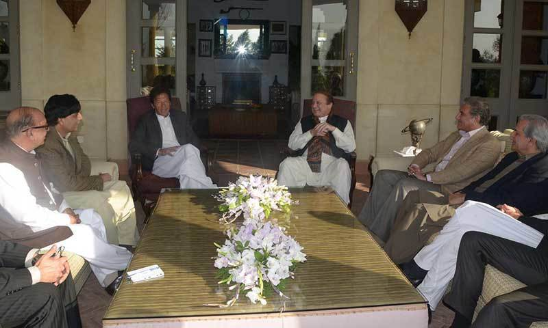 File photo shows Prime Minister Nawaz Sharif, Imran Khan and other leaders during a meeting.—PPI Photo
