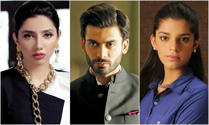 L-R: Mahira Khan, Fawad Khan and Sanam Saeed.