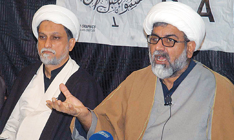 MWM general secretary Allama Raja Nasir speaking at a press conference on Tuesday.—PPI