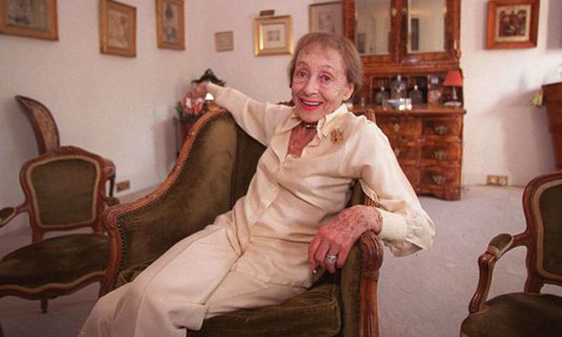 Luise Rainer poses in her central London apartment on July 29, 1999. -AP Photo