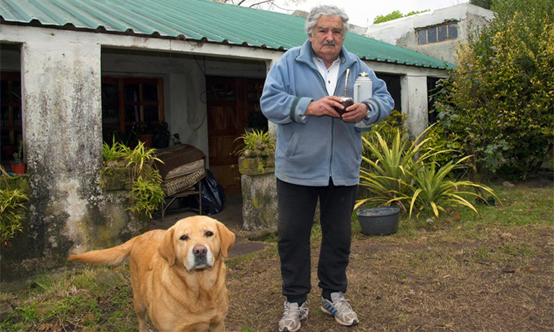 José Mujica stands outside his house in Montevideo, June 25, 2013. —AFP