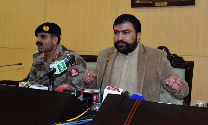 QUETTA: Balochistan Home Minister Mir Sarfaraz Bugti addresses a press conference here on Monday.—Online
