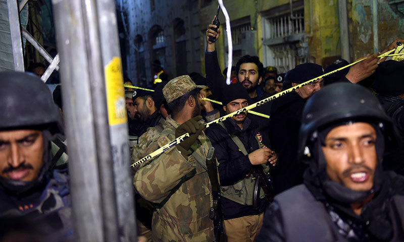 Security forces secure the site of the blast in Rawalpindi on January 9, 2015. - AFP