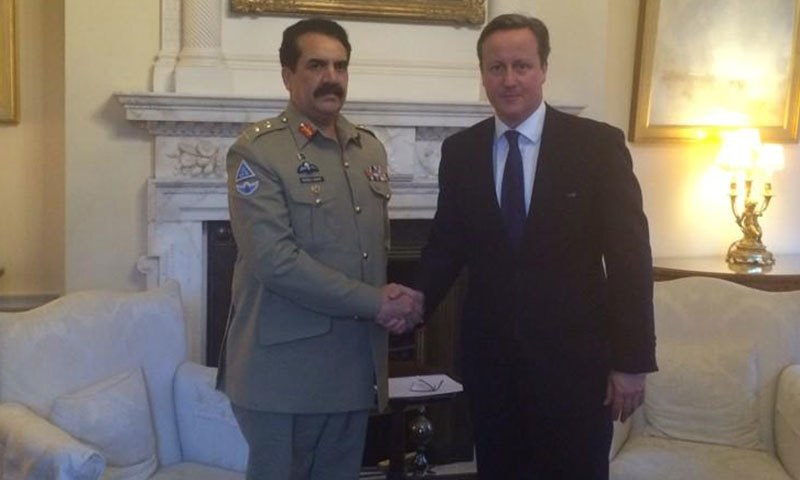 Gen Raheel Sharif meeting with UK Prime Minister David Cameron at 10 Downing Street. -ISPR Twitter Photo