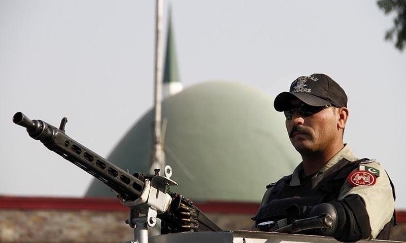 Ranger personnel standing alert outside Lal Masjid. — INP/file