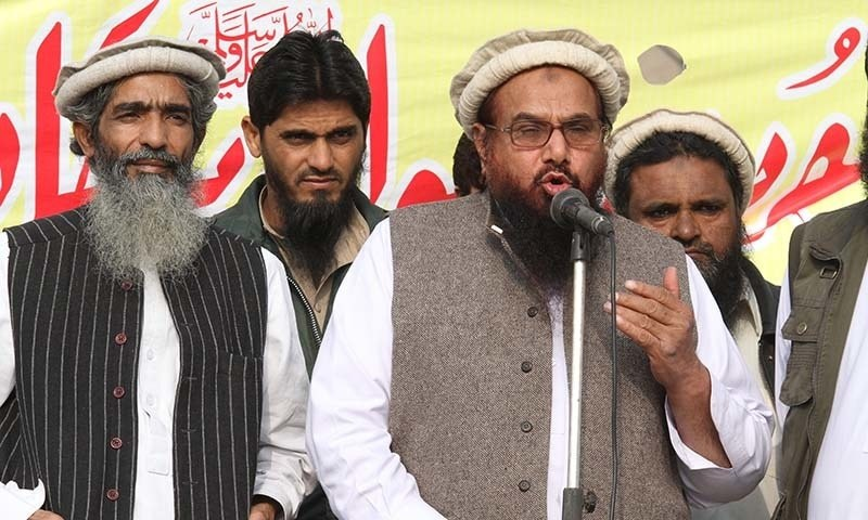 Jamaatud Dawa Chief, Hafiz Mohammad Saeed addresses a rally against the printing of anti-Islam sketches by French magazine Charlie Hebdo, in Lahore on January 23, 2015.— AP