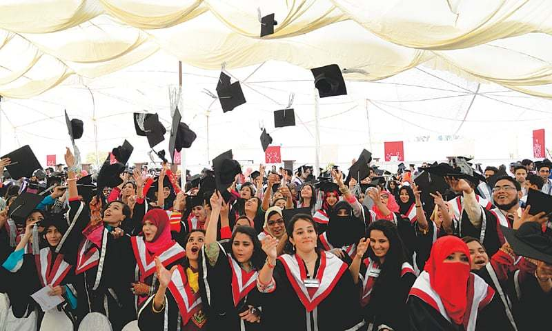 STUDENTS of Karachi University toss their caps in the air in celebration during the annual convocation held on the campus on Saturday.—White Star
