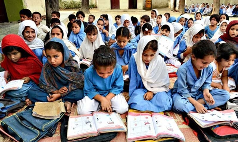 Girls attend class at a school in Khyber Pakhtunkhwa province. — AFP/file