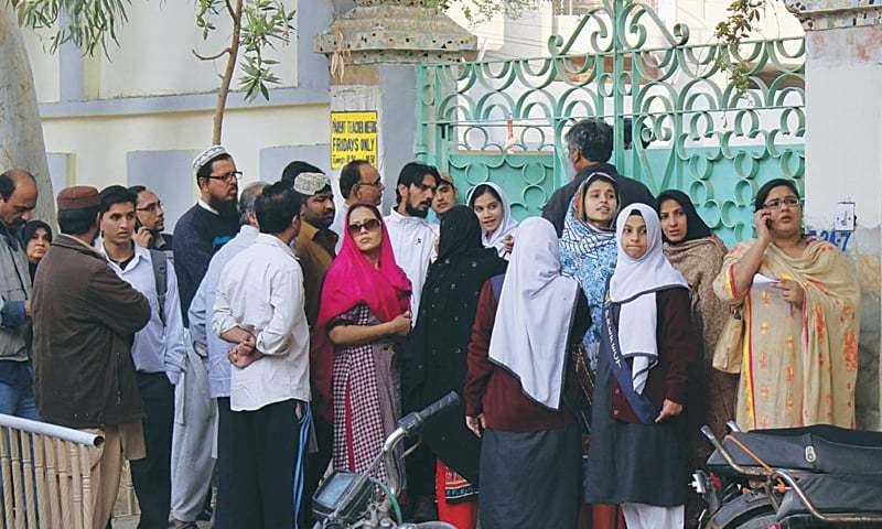 cracker blasts outside two karachi schools trigger scare newspaper